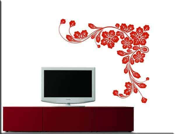 adesivi da parete fiori angolo design arredo