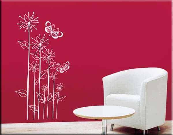 adesivi da parete fiori farfalle design arredo