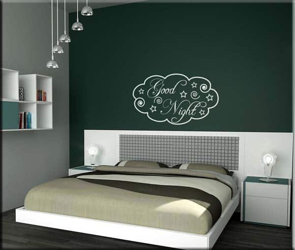 adesivi da parete good night arredo letto