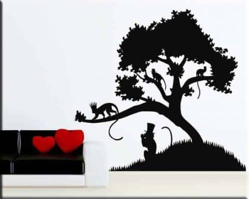 adesivi murali albero scimmie arredo natura