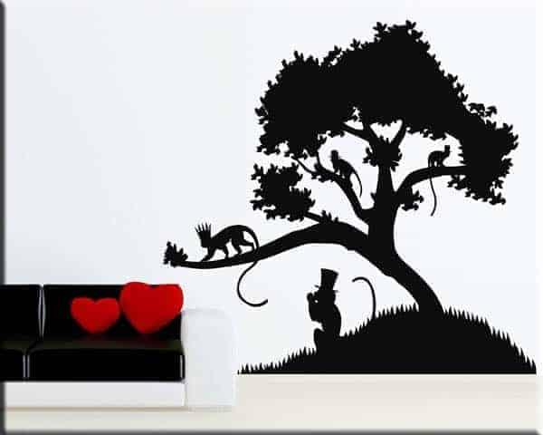 adesivi-murali-albero-scimmie-arredo-natura