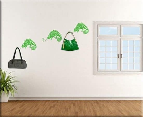 adesivi murali camaleonti appendiabiti arredo