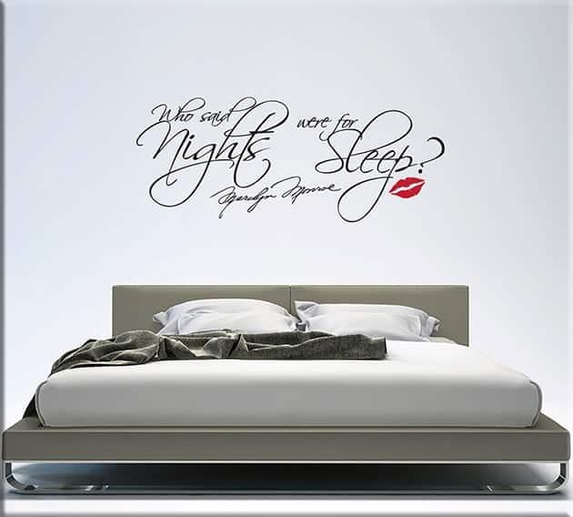 Adesivi murali frase marilyn monroe letto - Camera da letto decorazioni murali ...