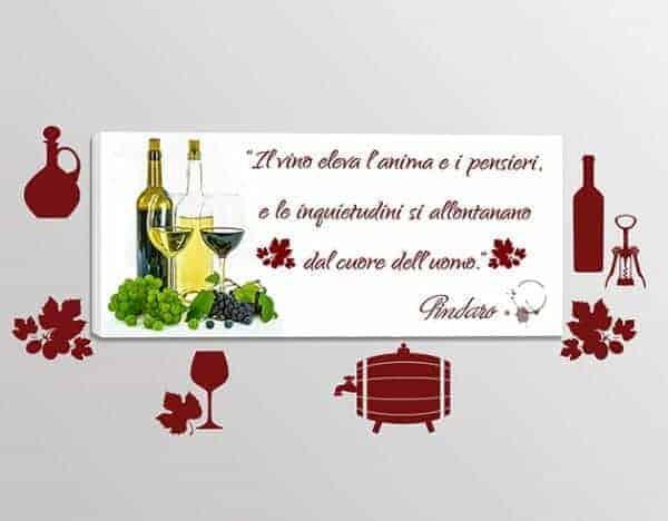 adesivi murali quadro moderno citazione vino