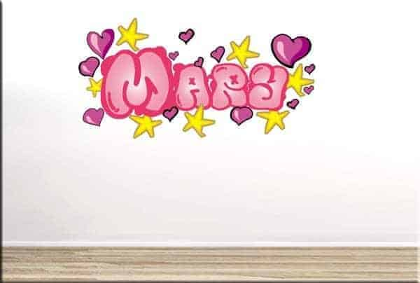 adesivo murale graffito nome personalizzato rosa