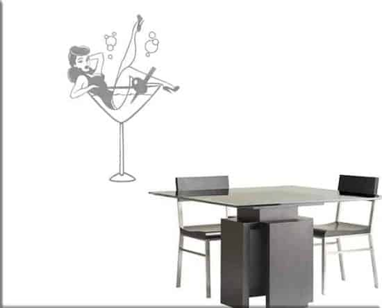 adesivi da parete pin-up cocktail bar arredo