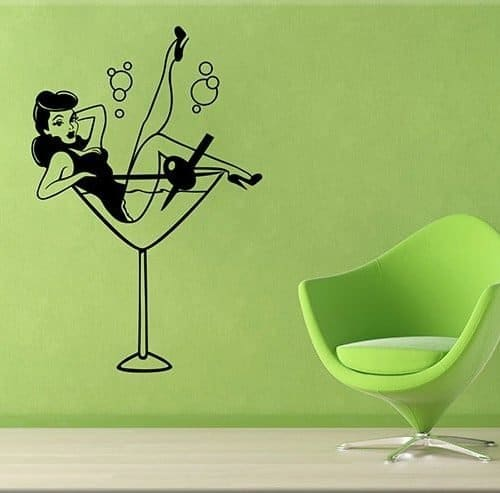 adesivi murali pin-up cocktail bar arredo