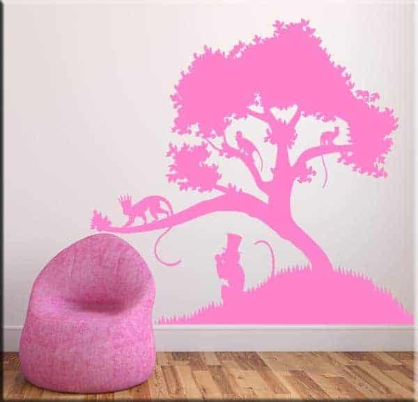 decorazioni adesive murali albero scimmie arredo