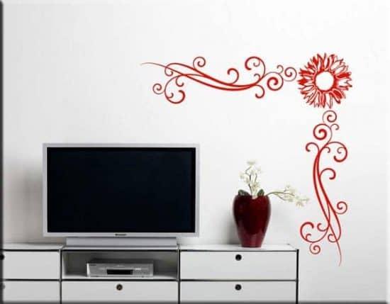 decorazioni adesive murali angolo fiore arredo design