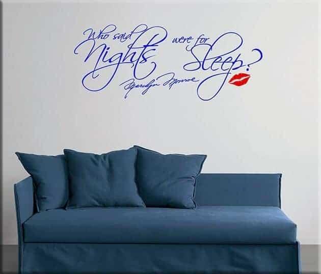 decorazioni adesive murali frase marilyn monroe letto