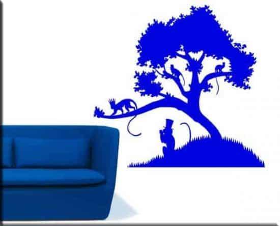 wall stickers albero scimmie arredo natura