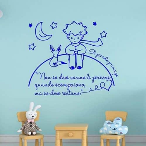Decorazioni adesive murali frase il piccolo principe blu