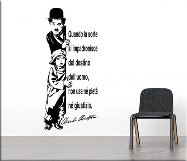 adesivi da parete citazione charlie chaplin