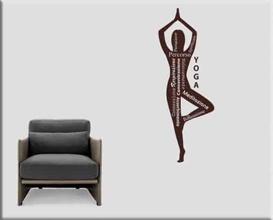 adesivi da parete yoga posizione meditazione