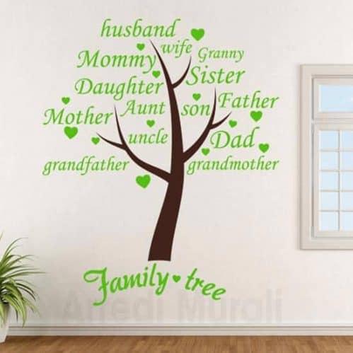 Adesivi murali albero family con scritte adesive