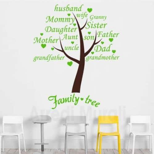 Adesivi murali albero family con parole adesive