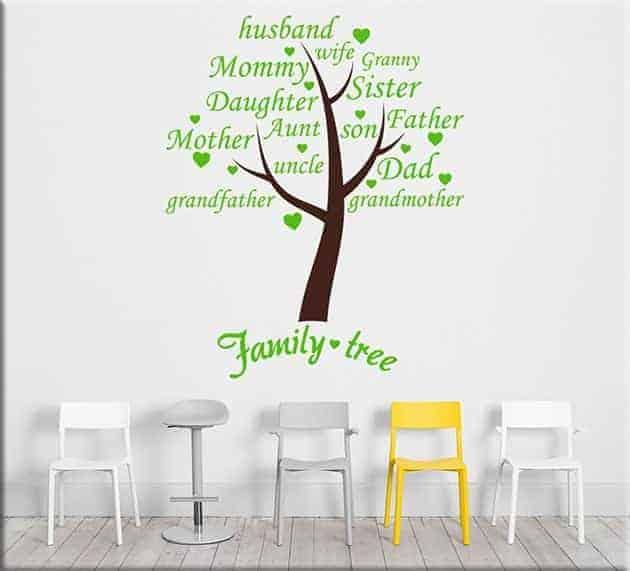 Adesivi murali albero family tree arredo