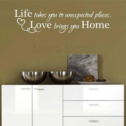 Adesivi murali frase casa home scritta bianca