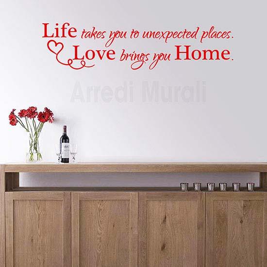 Adesivi murali frase casa home scritta rossa