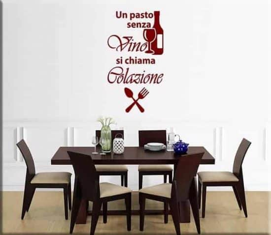 adesivi murali frase vino osteria ristorante