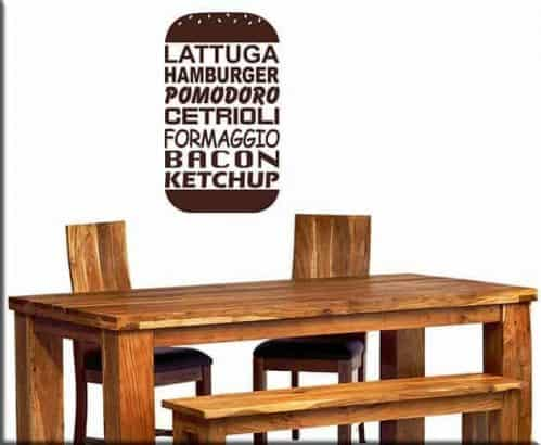 Adesivi murali hamburger fast food arredo