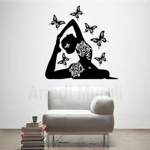 Adesivi murali posizione Yoga farfalle nero