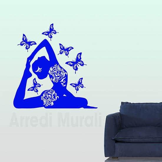 Adesivi murali posizione Yoga farfalle blu