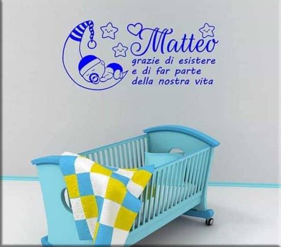 adesivi da parete frase bebè personalizzata