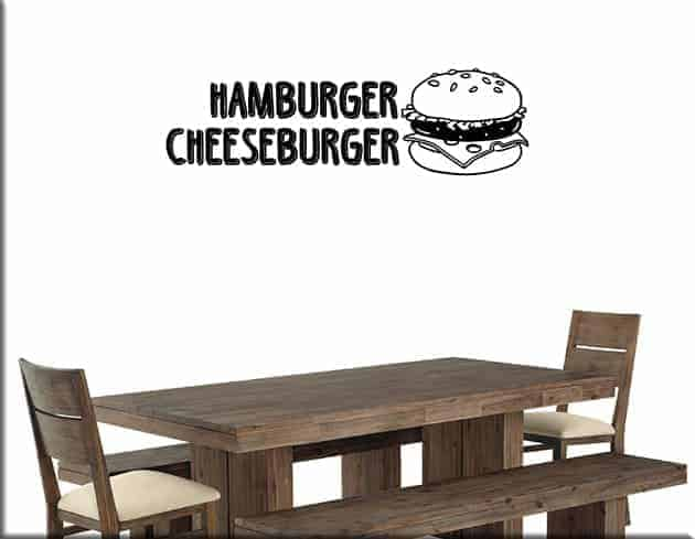 adesivi da parete hamburger cheeseburger fast food