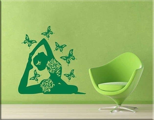 adesivi da parete posizione yoga farfalle