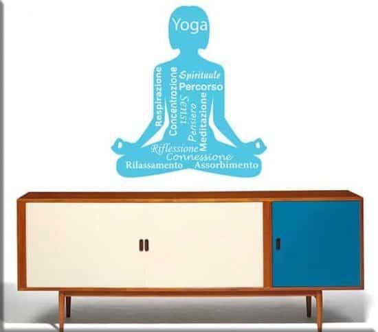 adesivi da parete posizione yoga meditazione