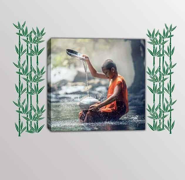 adesivi murali bamboo con quadro moderno