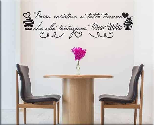 adesivi murali citazione Oscar Wilde cucina