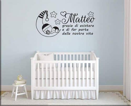 adesivi murali frase bebè personalizzata