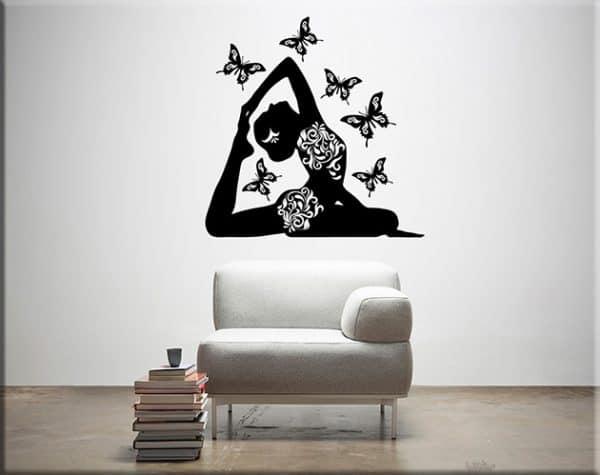 adesivi murali posizione yoga farfalle