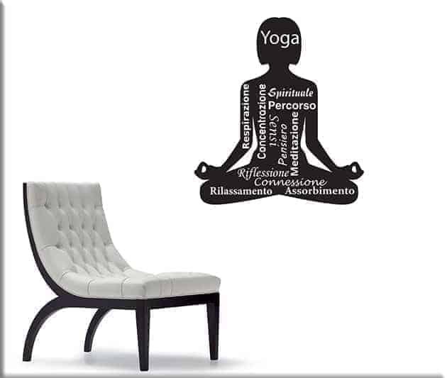 adesivi murali posizione yoga meditazione