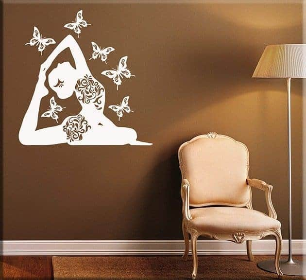 decorazioni adesive murali posizione yoga farfalle