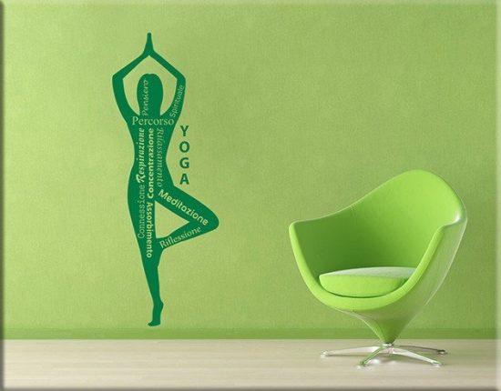 decorazioni adesive murali yoga posizione meditazione