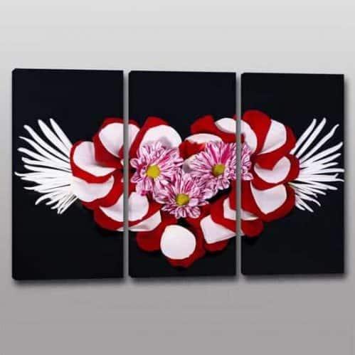 quadri moderni floreali arte digitale su 3 tele