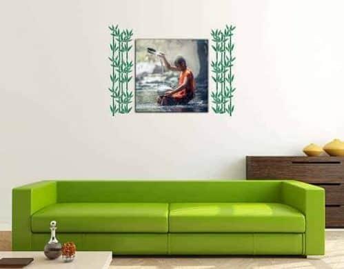 quadro moderno con adesivi murali bamboo