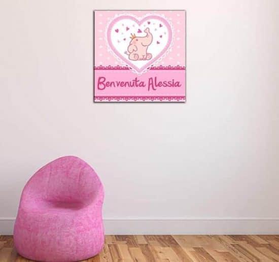 quadro moderno personalizzato nascita bambina