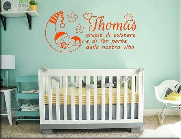 wall stickers frase bebè personalizzata