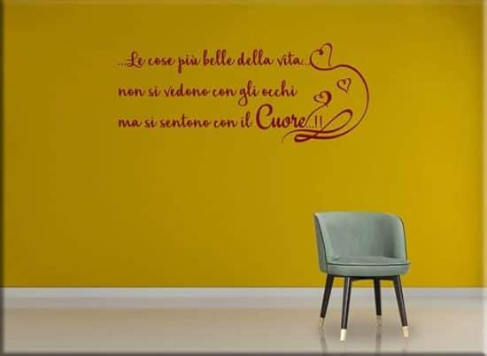 wall stickers frase cuore decorazione