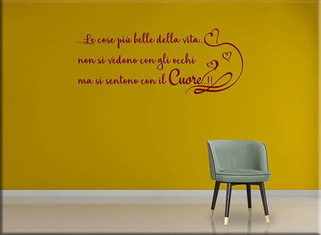 wall stickers frase cuore decorazione