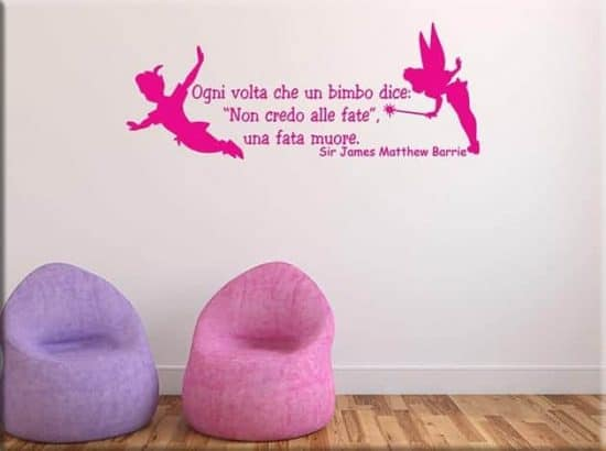 wall stickers frase peter pan arredo