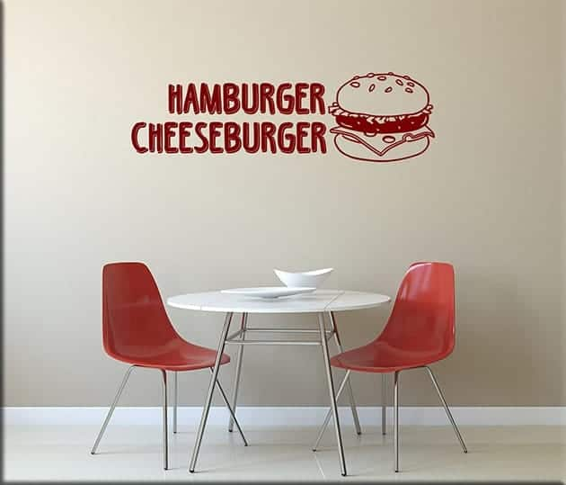 wall stickers hamburger cheeseburger fast food
