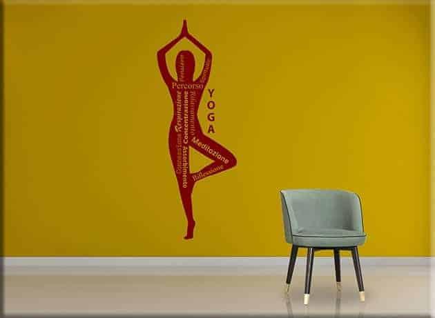 wall stickers yoga posizione meditazione