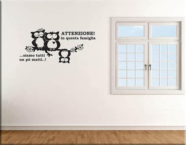 Adesivi murali frase famiglia gufi arredo - Adesivi parete camera da letto ...