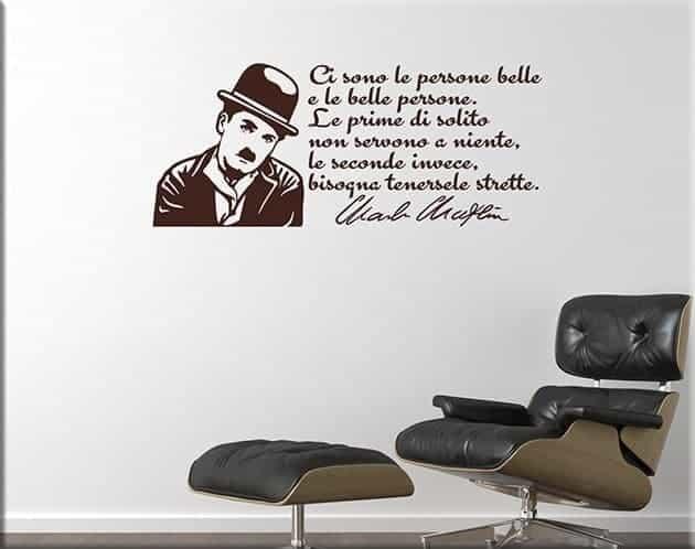 decorazioni murali frase CHARLIE CHAPLIN