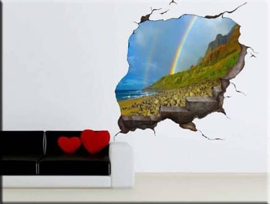 Adesivi murali trompe l'oeil buco nel muro